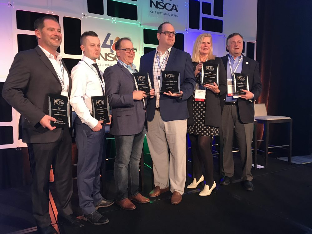 AV company leaders accepting NSCA Excellence in Business Awards at their 2020 BLC conference